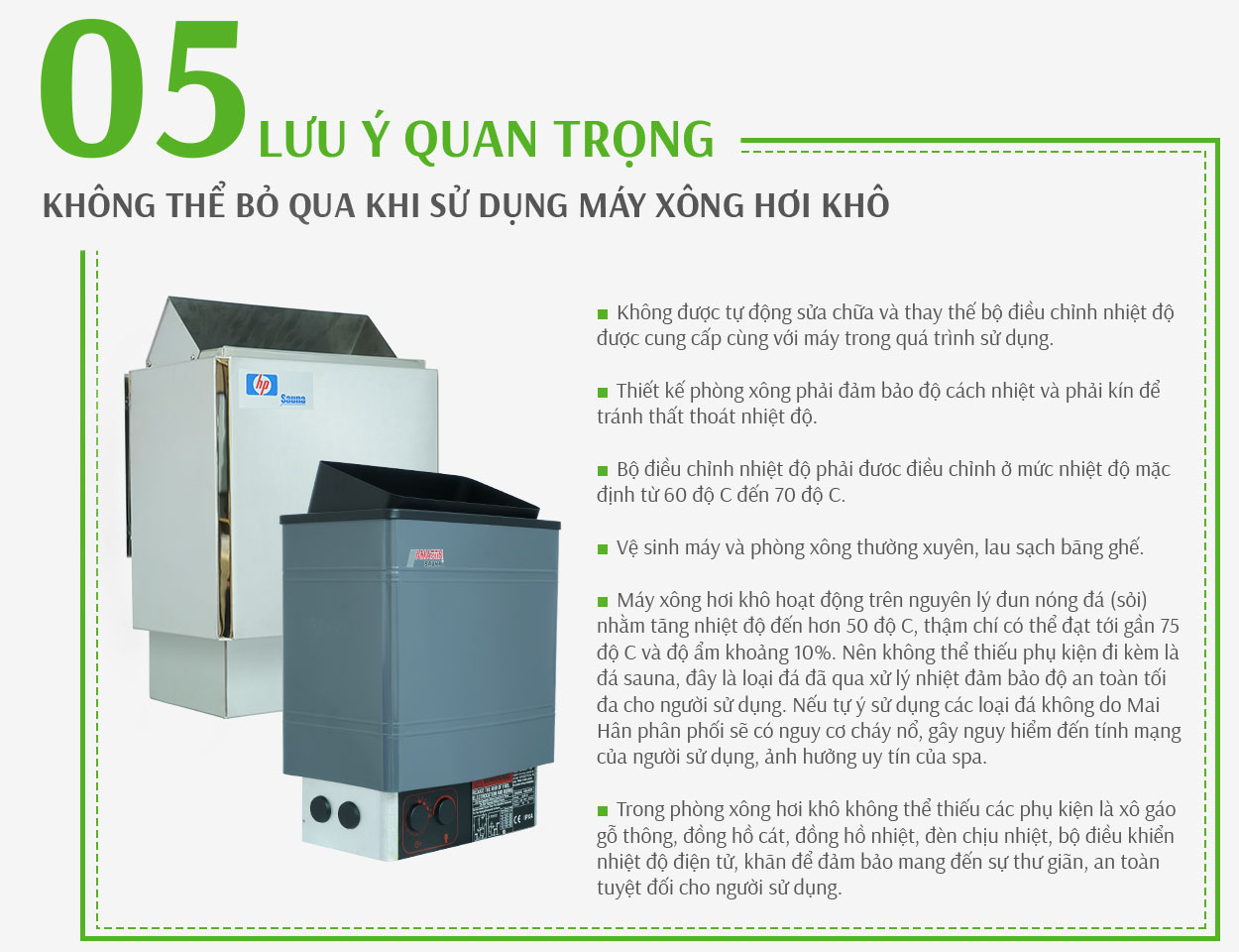 Lưu ý khi sử dụng máy xông hơi khô